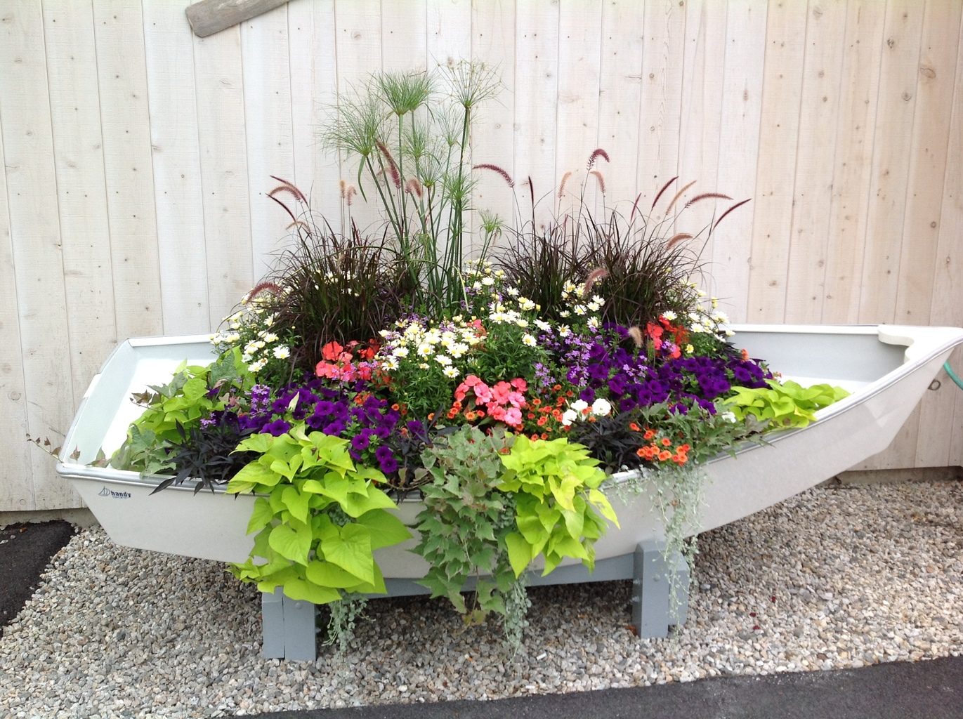 Row your way to color with annuals carolyn 39 s shade gardens - Wooden containers for flowers ...