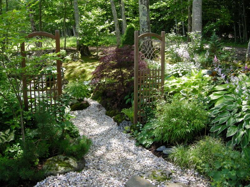 Gardens on pinterest shade garden garden paths and for Part shade garden designs