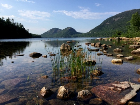 View across Jordan Pond to the North and South Bubbles
